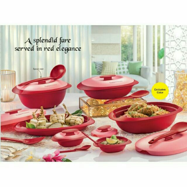 Tupperware Royal Red Blossom Serving Collection Set