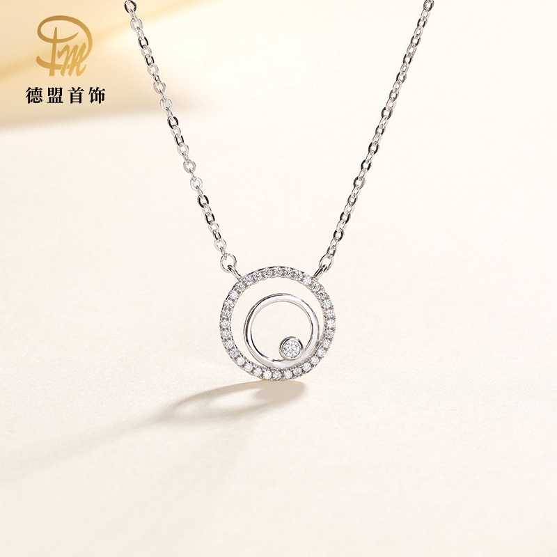 S925 Silver Necklace Fashion Simple Double Ring Diamond Pendant
