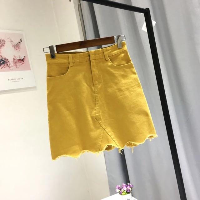 [S~L]Women High Waist Denim Skirt 牛仔a字裙女高腰韩版夏季包臀一步裙不规则毛边弹力短裙半身裙 潮