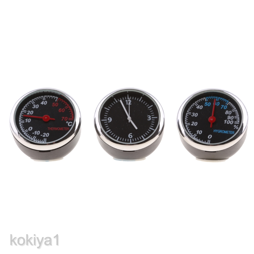 Car Thermometer Hygrometer Quartz Clock For Dashboard Ornament Kit Set
