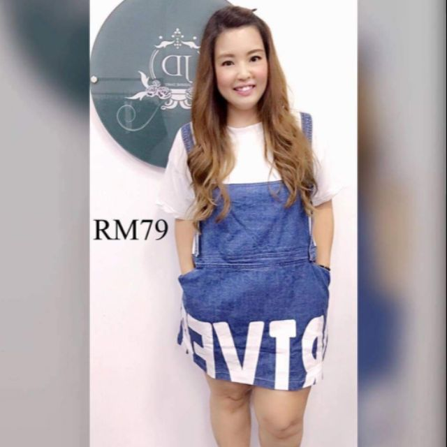 Malaysia Stock - Jeans attached Shirt Dress High Quality CNY