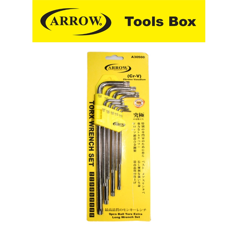 ARROW A30500 9 PIECES LONG BAIL TORX WRENCH SET EASY USE SAFETY GOOD QUALITY