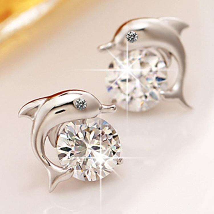 b3ae7d3e540ad Lovely Crystal Eye Dolphin CZ Stud Earrings Women's 925 Sterling ...