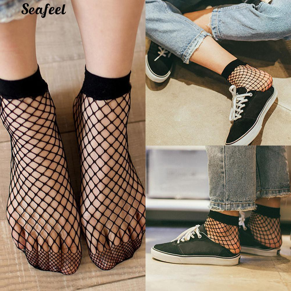 Fashion Women Ruffle Fishnet High Socks Mesh Lace Fish Net Short Socks AA