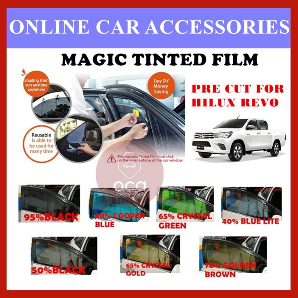 Toyota Hilux Revo  - Pre-Cut Shape Magic Tinted Solar Tinted (4 Windows & 2 Triangle /4 Windows+Rear)