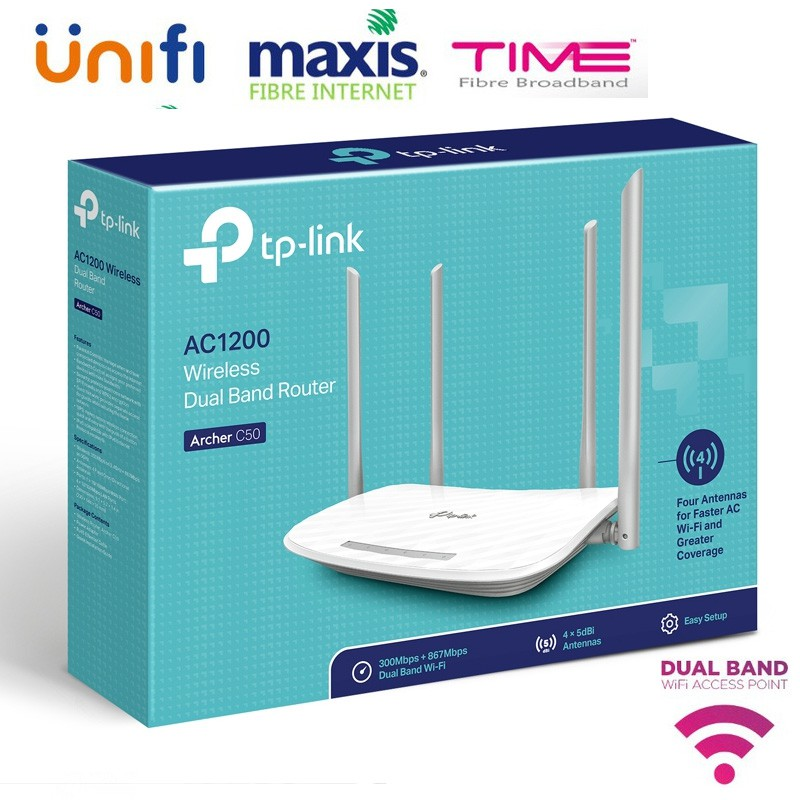 Official TP-Link Archer C50 AC1200 Wireless Dual Band Router (C1-3)