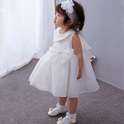 Baby Dress Big Ribbon Collar Princess Birthday Dress 3M-24M
