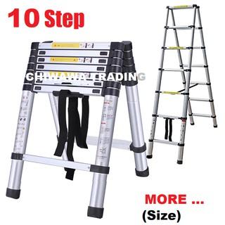10 5Ft 10 Steps Everest Extendable Aluminium Telescopic Pole Ladder