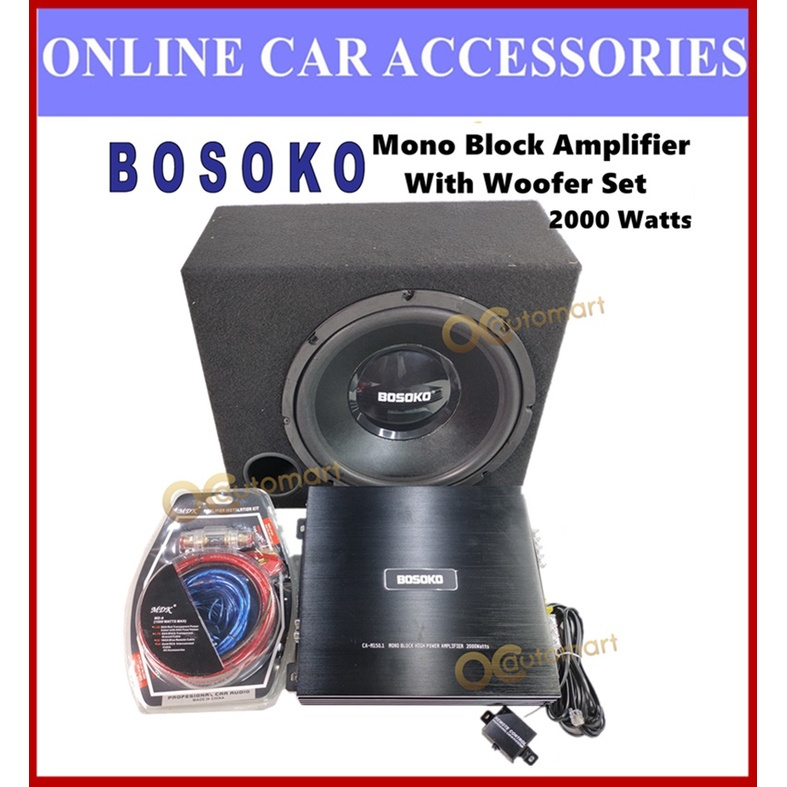 """BOSOKO Set MonoBlock AMPLIFIER 2000 Watts, BOSOKO 12"""" woofer with box 400 watts,Power Cable Wiring Subwoofer"""