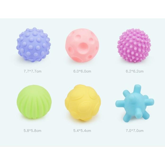 READY STOCK🌹 6PCS/SET BOLA BAYI RANGSANG SENTUHAN BUNYI /Baby Soft Rubber Balls Textured Tactile Sensory Sound TOY
