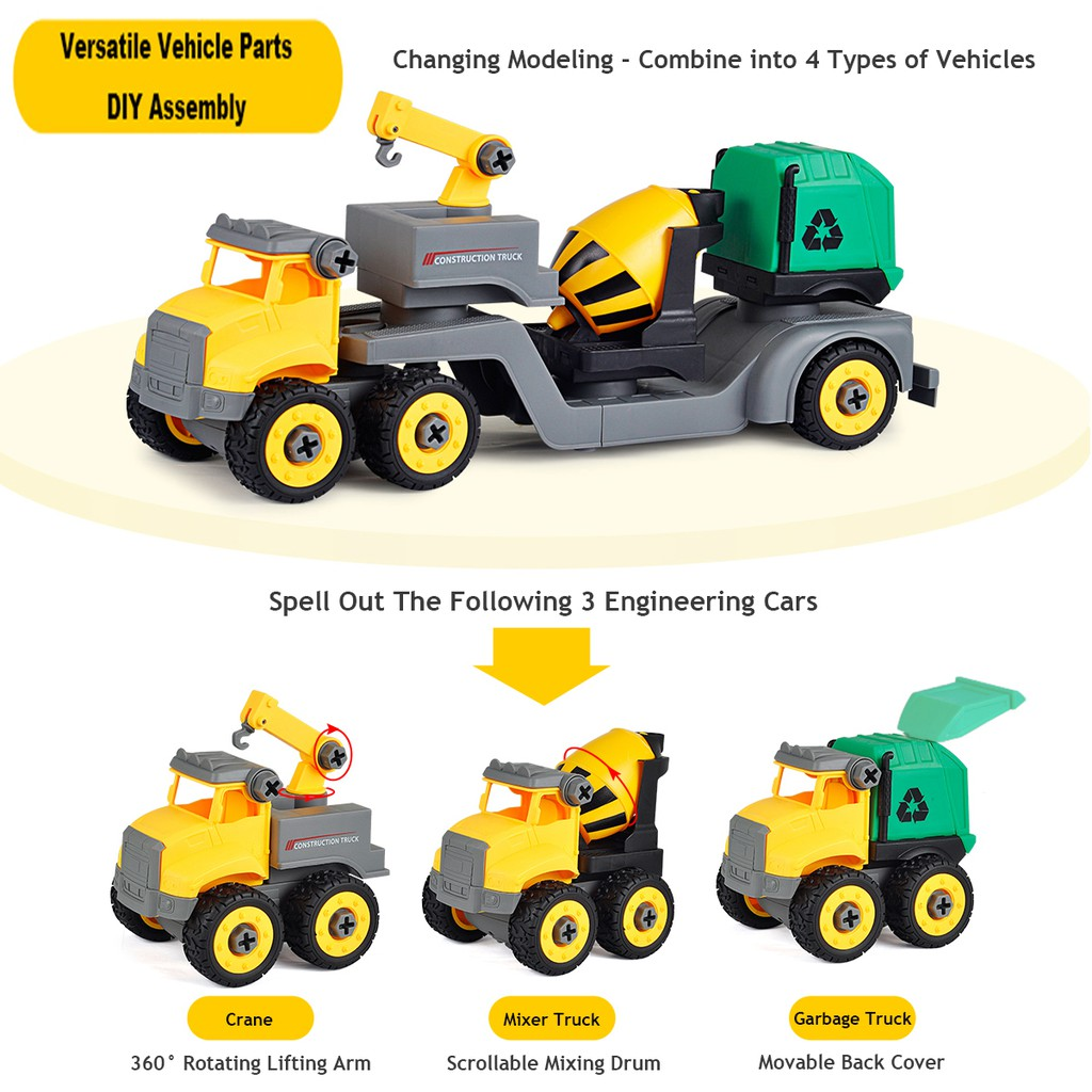 Kids Diecast Construction Sand Truck Cars Intelligent Model Toys Hand  Pushing and Sliding Engineering Vehicles Boys