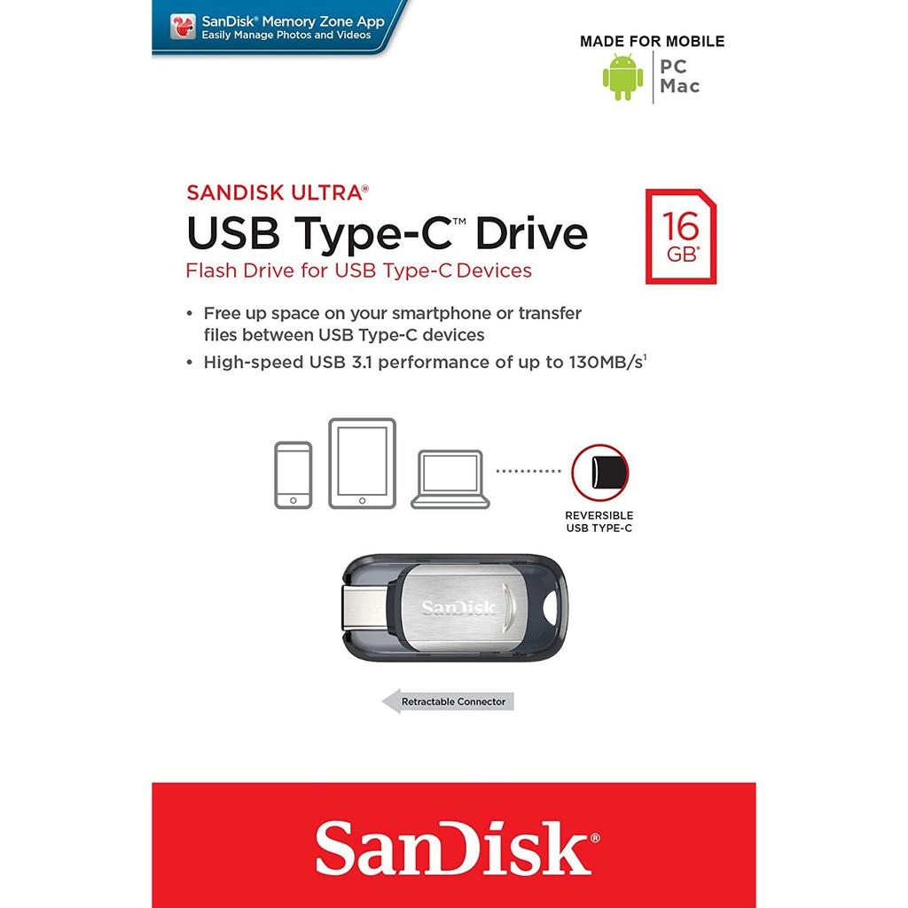 SanDisk 16GB Ultra USB Type C USB 3.1 Drive 130MB/s SDCZ450-016G