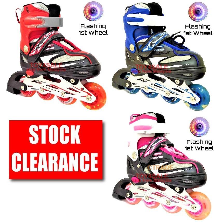 🌟InStock Rollerblade Inline Skate + All PU Wheel LED Adjustable Shoe Kasut  Roda