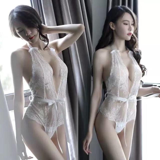 [Free Size]Nightwear Sexy V Neck Dress 性感睡衣情趣内衣女诱惑骚透明薄沙情调衣人火辣V领漏背连体T裤短