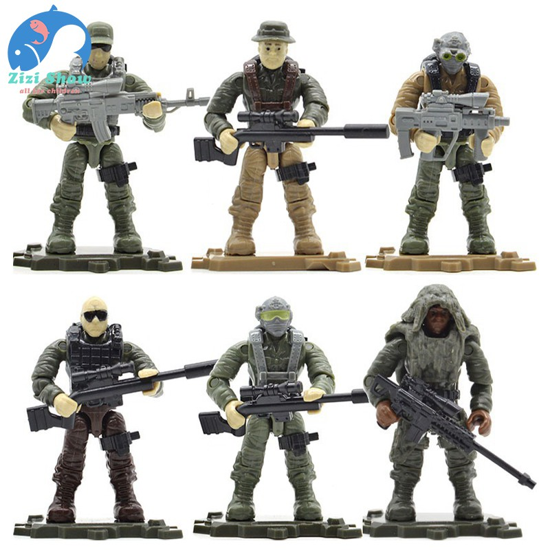 Compatible Lego Military Figures With Weapons Building Blocks Soldiers Army 8Pcs