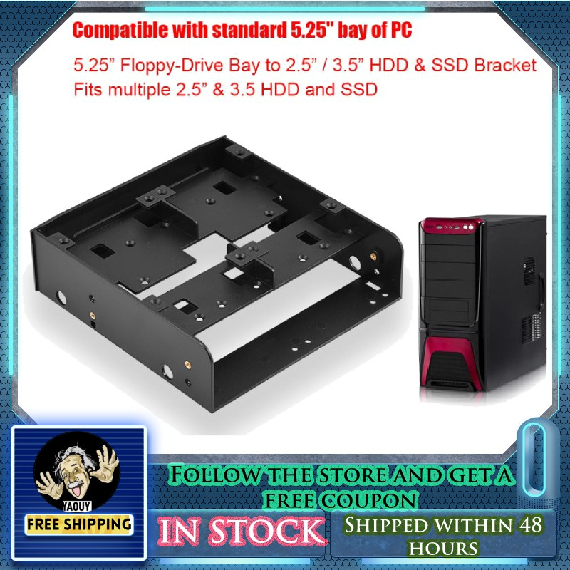 2.5 3.5 to 5.25 Drive Bay Computer Case Adapter HDD Mounting Bracket SSD