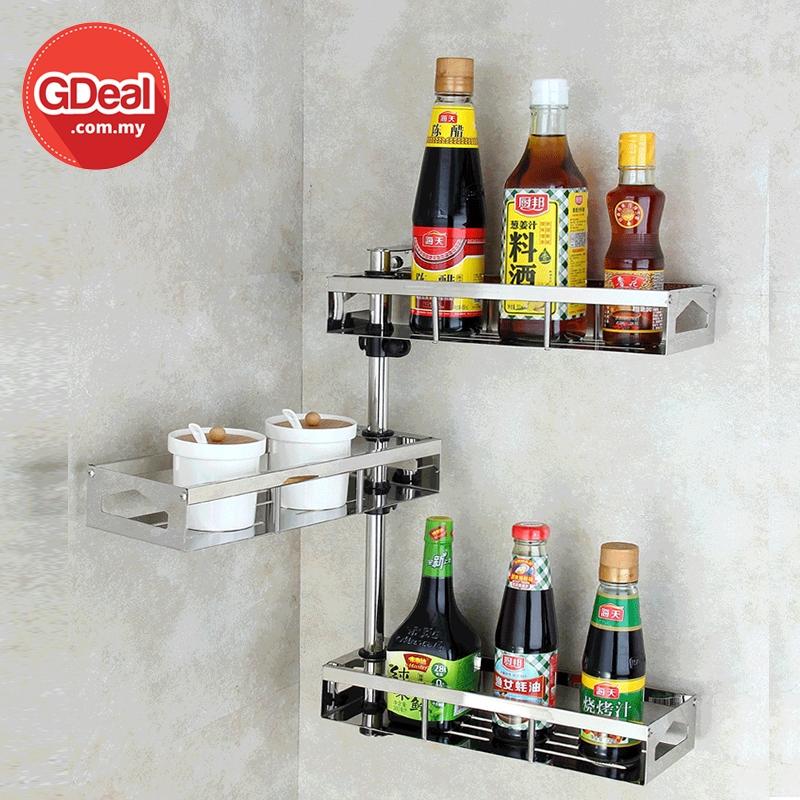 GDeal 304 Stainless Steel Rotating Seasoning Rack 3 Layers Kitchen Bathroom Shelf Rak Boleh Laras رق بوليه لارس