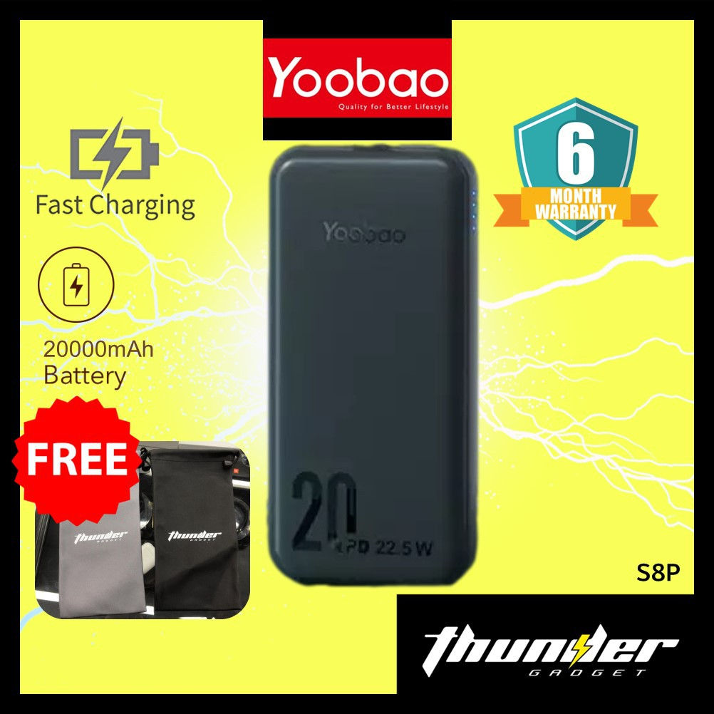 YOOBAO S8P  Quick Charging  20000mAh Powerbank 22.5W PD3.0
