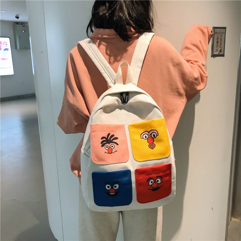 School bag female Korean version of high school students tide brand campus  color ins wind bf ancient feeling girl canvas