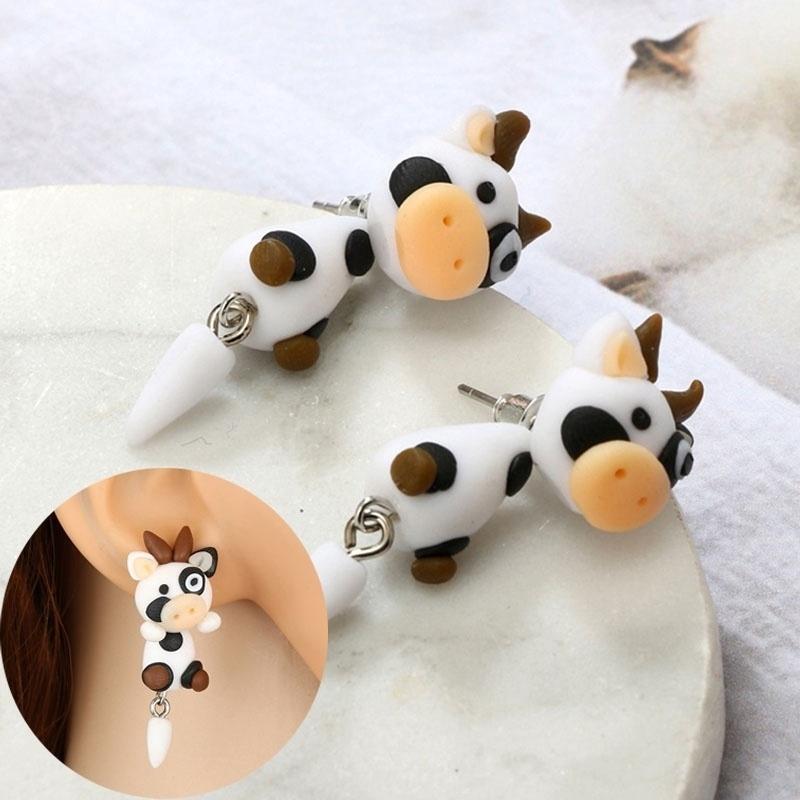 Handmade Soft Clay Cartoon Carrot Clip Earrings Piercing 3D Girls Split Stud Ear Jewelry