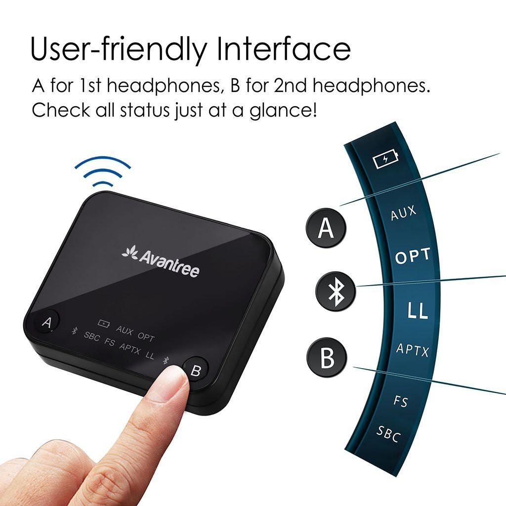 Optical Digital Audio, 3.5mm AUX, RCA, USB Dual Link for Two Headphones Avantree Audikast aptX LOW LATENCY Bluetooth Audio Transmitter for TV PC No Delay 30M Long Range