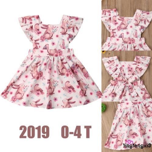 07a72eef814ba ❀Yaho❀Cute Cartoon Rabbit Print Clothes Infant Baby Gril Easter Party Dress