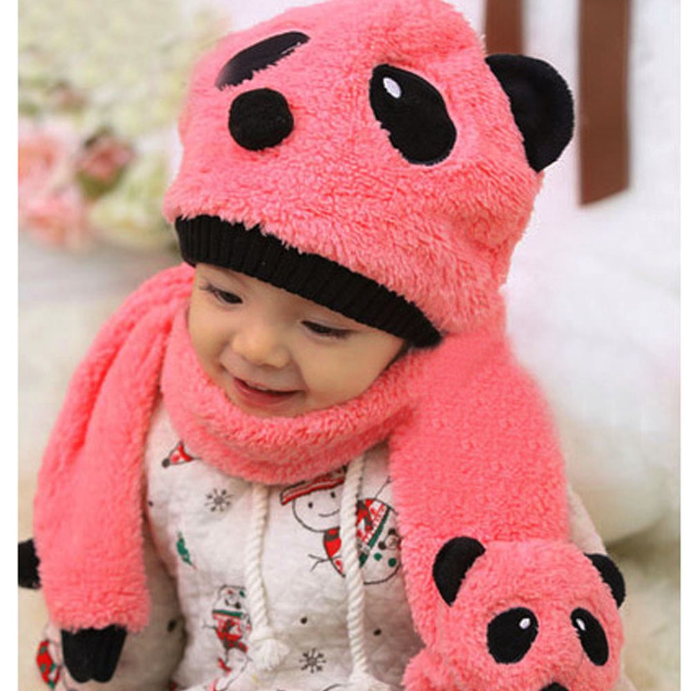 7a130beba [QUILETY] Super Cute and Warm Children Wool Panda Cap Match Scarf Cartoon  Hat