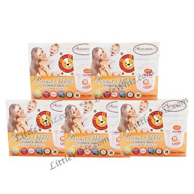 Autumnz: Double Zip Lock Breastmilk Storage Bags 10oz - 28pcs (5 BOXES)