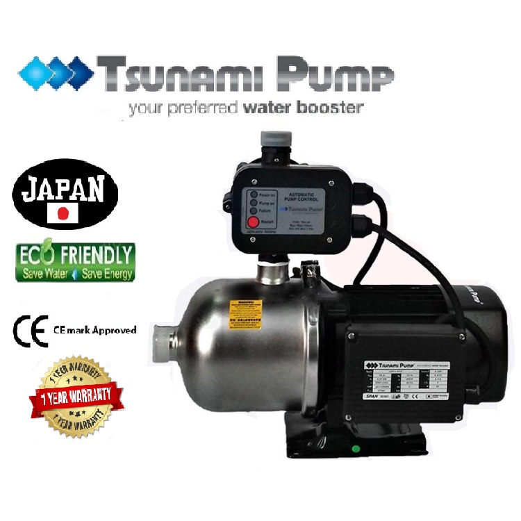 Tsunami CMF4-40-K Food Grade Stainless Steel Casing Home Auto Booster Pressure Water Pump【1 Year Warranty】