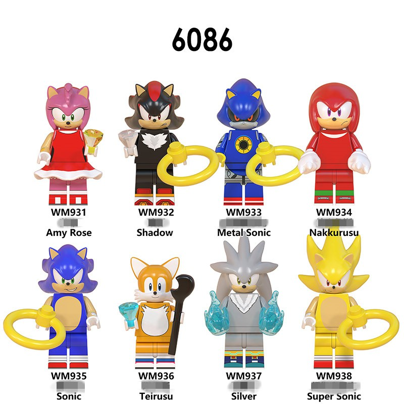 The Hedgehog Minifigure Sonic Shadow Knuckles Figures Collection Building Blocks