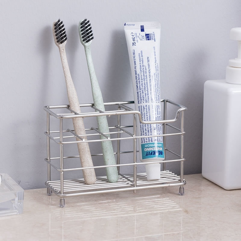 Stainless Steel Toothbrush Toothpaster Stand Holder Organizer Box bathroom Tool