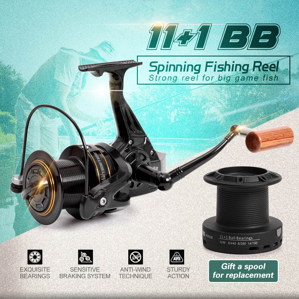 11+1 BB Spinning Fishing Reel Interchangeable Handle Wheel with Spare Spool