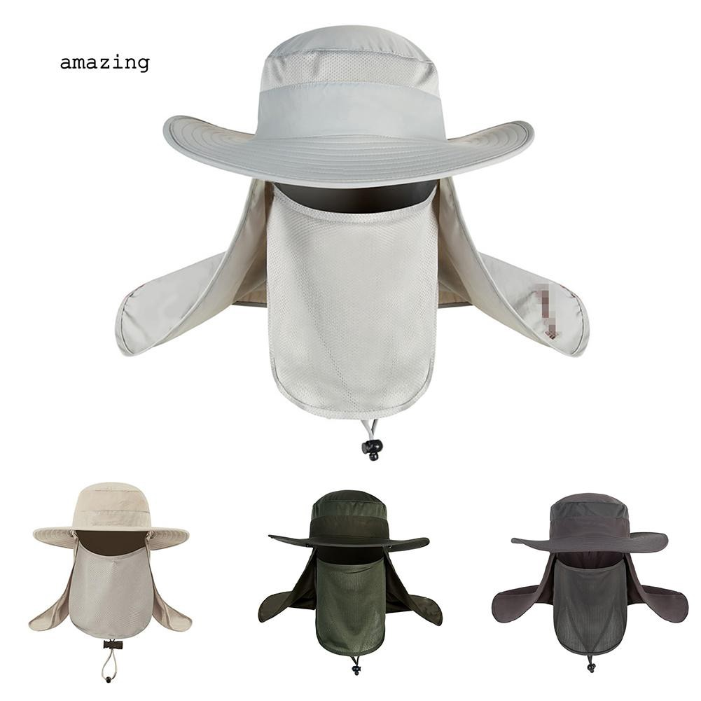 704f48bfa AMAZ_Outdoor Sun Protection Neck Face Cover Flap Cap Wide Brim Hiking  Fishing Hat