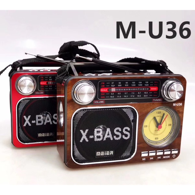 MEIER FM Radio Support USB And SD card with clock and Torch light
