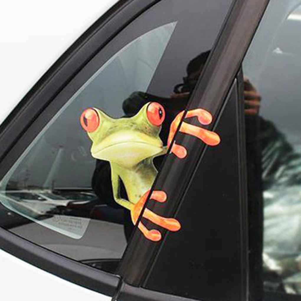 Car Windshield Sticker 3D Funny Green Lying Frog Wall Window Vinyl Decal Sticker