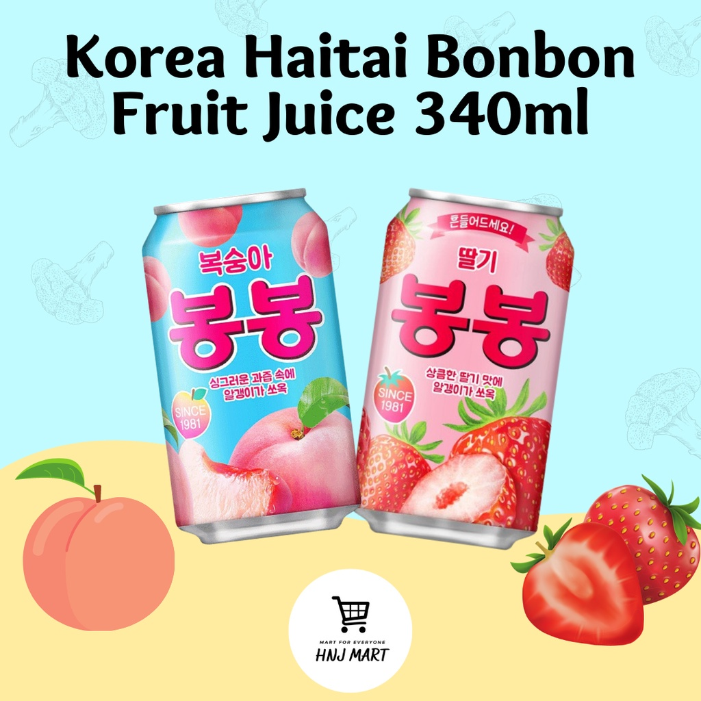 (Big Tin) Korea Haitai BonBon Peach Juice/Strawberry Juice 韩国海太桃子汁/海太草莓汁/海太果汁真果肉真果粒