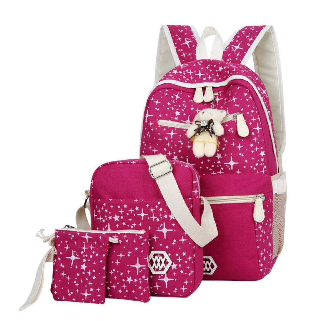 9177d2f2f8d8 Pink ) AOYI 4Pcs/Set Backpacks Korean Canvas Printing School Book ...