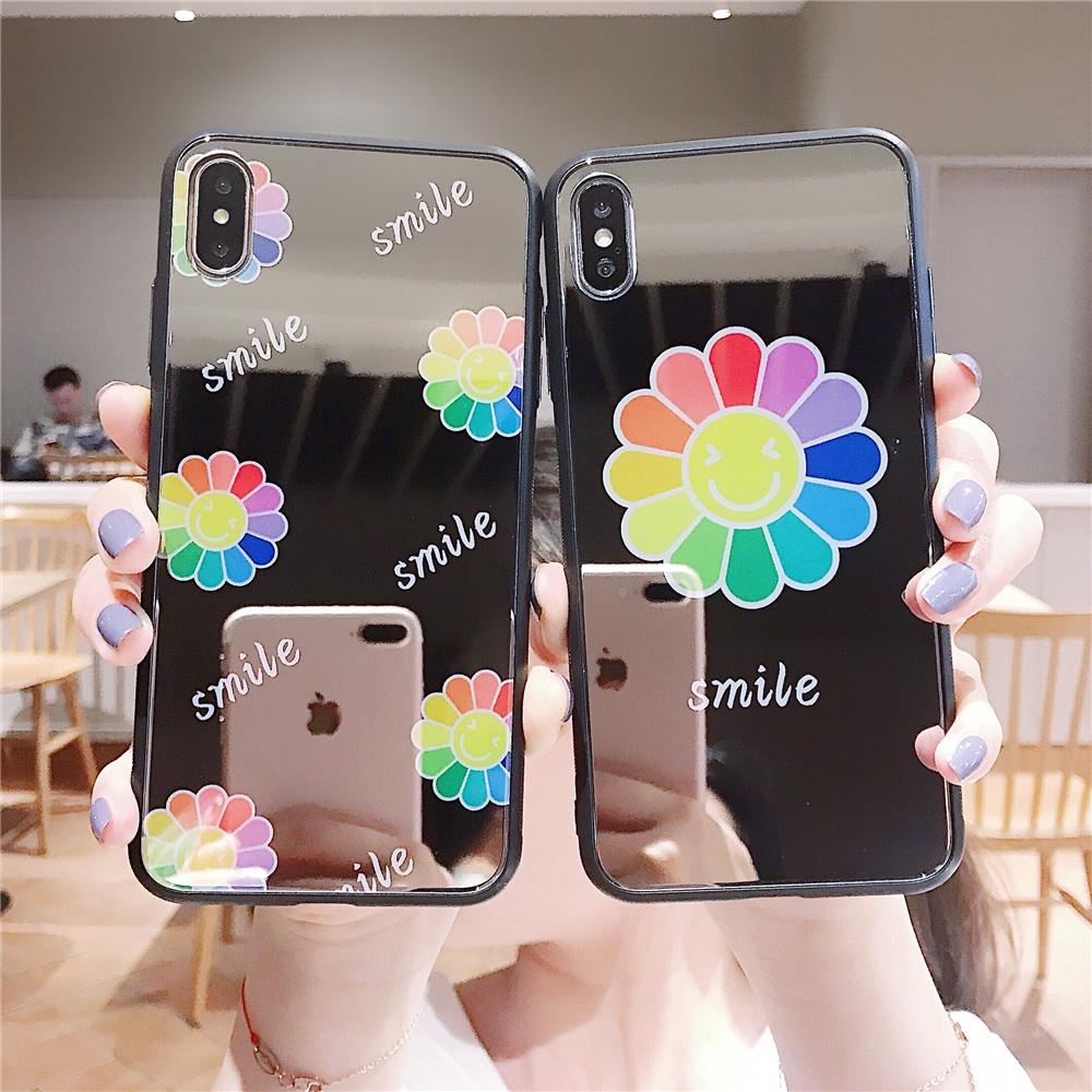 51a70e3fdf Kaikai Kiki colourful sun flower mirror iphone case 6 7 8 plus X XR XS MAX  Popular Super cute INS fashion back Cover