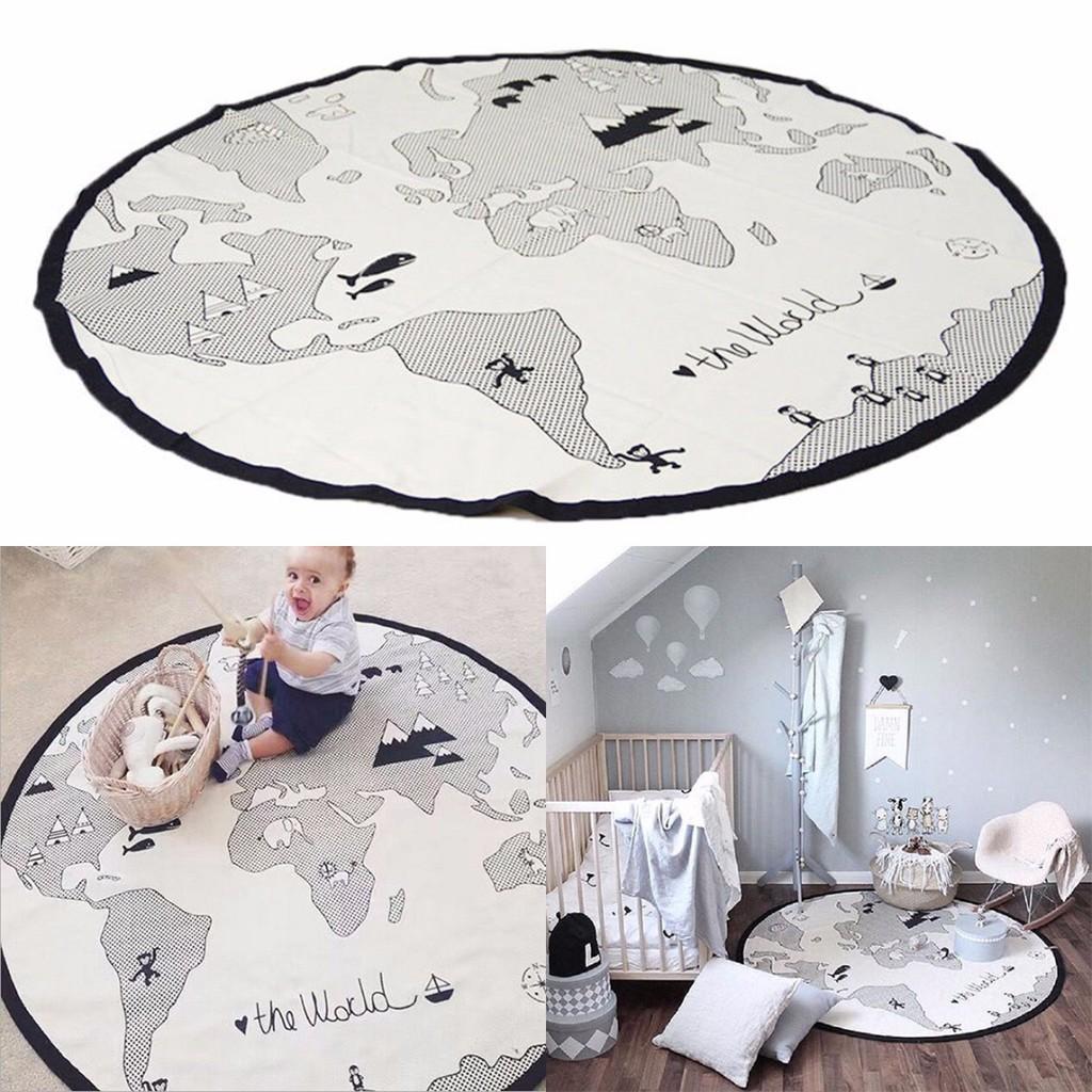 Baby Round Carpet Playing Mat World Map Floor Cotton Kids Fun Crawling Pad 135cm