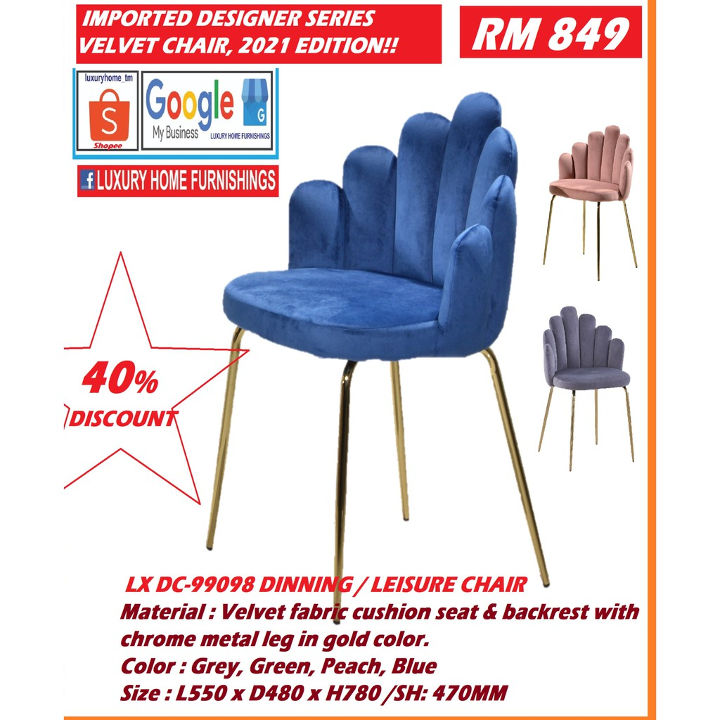 Velvet fabric cushion seat & backrest with chrome metal leg in gold CHAIR, color. Color : Grey, Green, Peach, Blue, IMPT