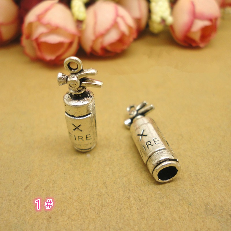 Retro Style Atq Silver Tone Alloy Cute Fire Extinguisher Charm Pendant 40pcs