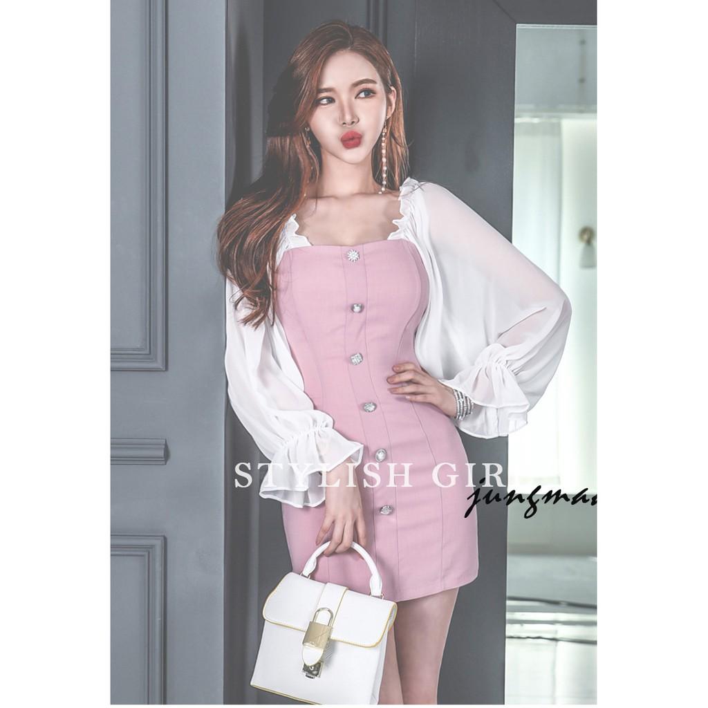 【Premium】Korean Version Elegant Dress/Gown/Evening Dress/Dinner/Midi Dress 中长款韩版连衣裙礼服