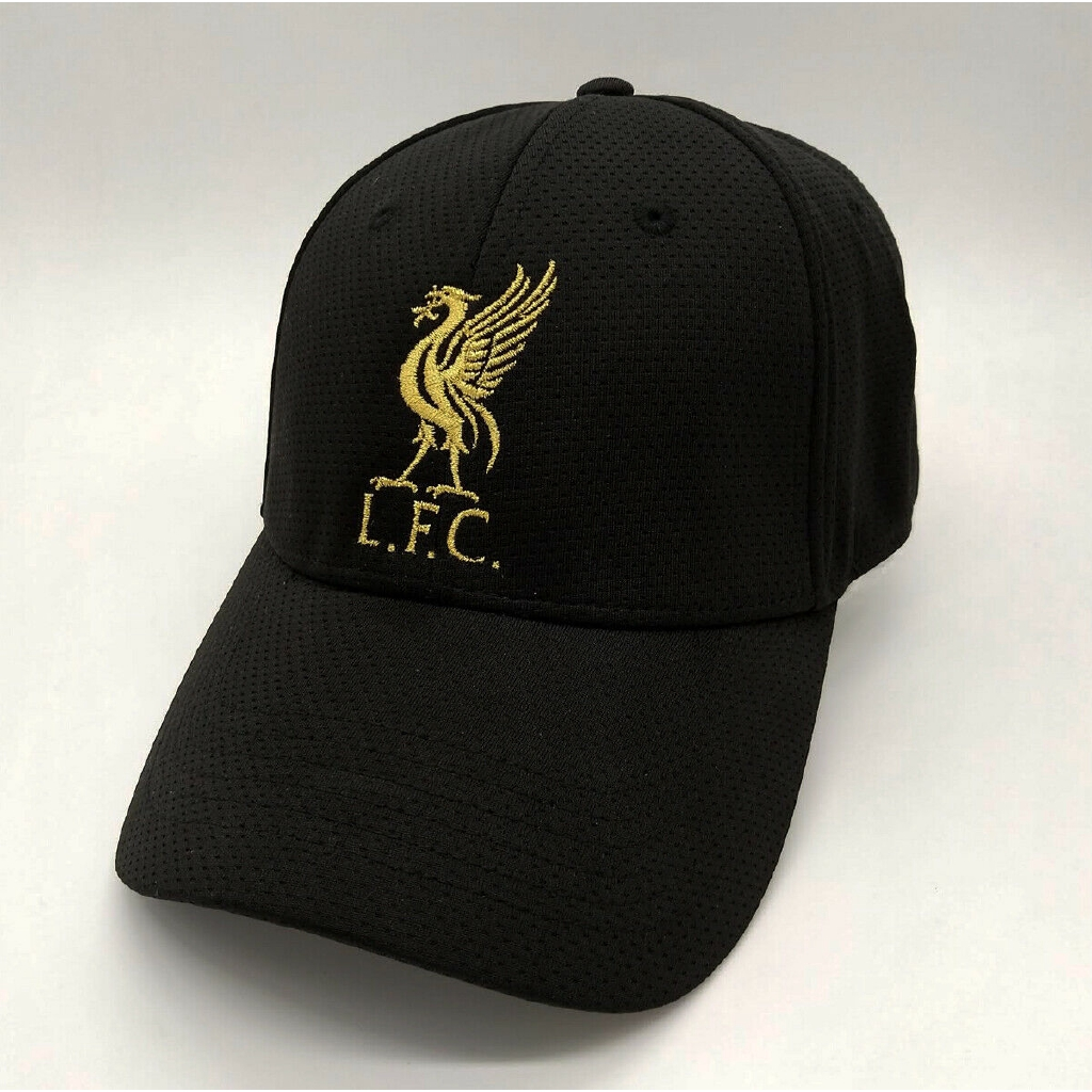 d1646e8fca2 Liverpool FC Black Baseball Hat with Gold Logo Free Worldwide Shipping