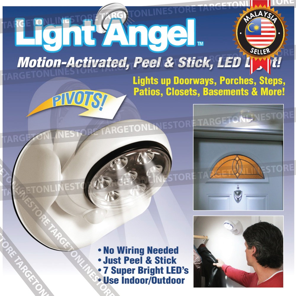 Light Angel Wall Stick Motion Activated Sensor Led 360 Rotate No Wiring Lighting Security Shopee Malaysia