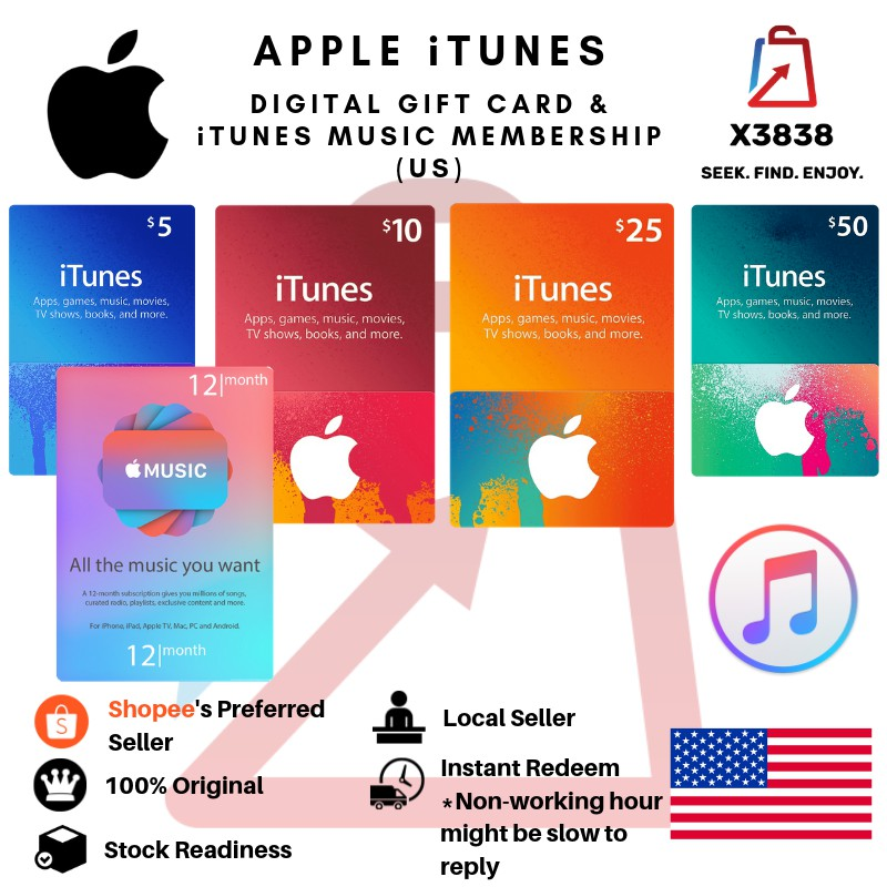 APPLE iTunes (US) Digital Gift Card for USD10, US25, USD50 and iTunes Music  Membership for 12 Months