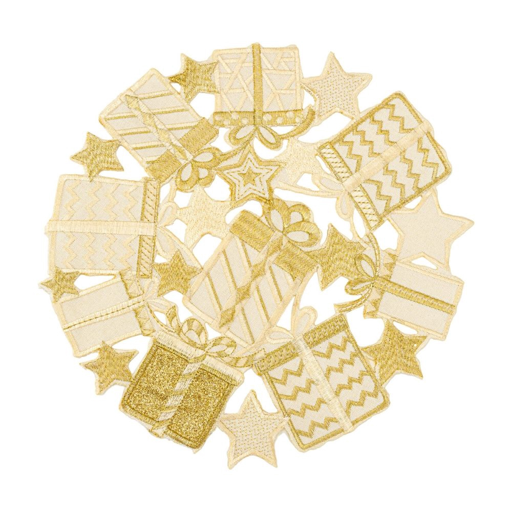 """Embroidered Gold Glitter Gift Boxes Cutwork Round Doilies RD30cm/12"""""""