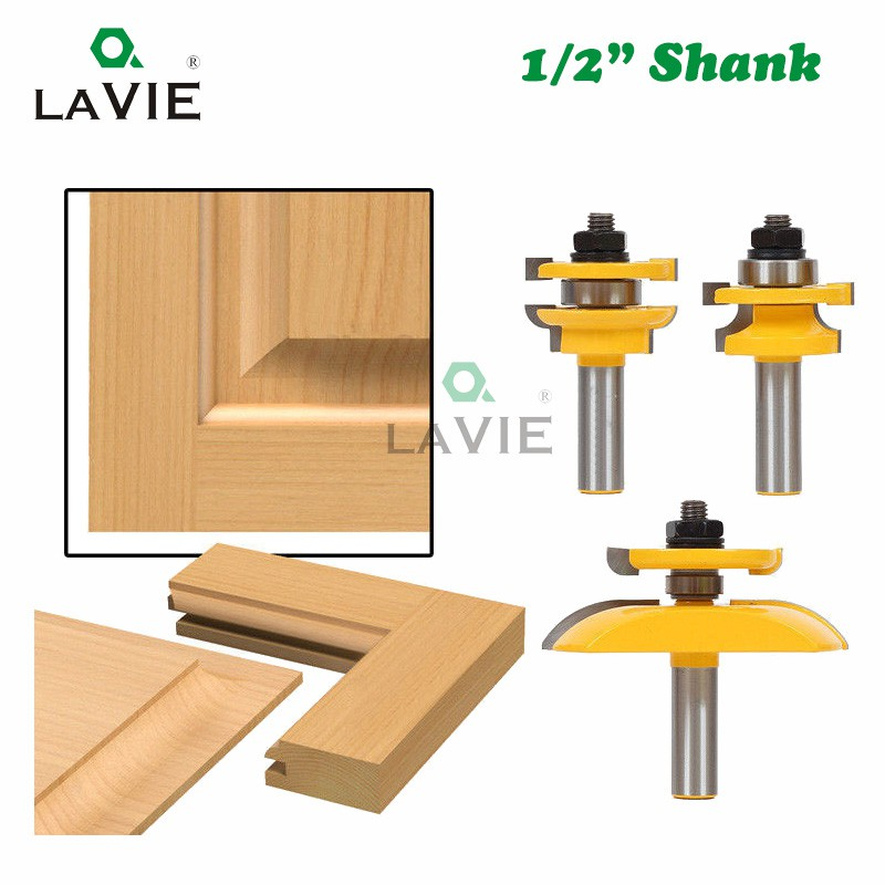 """LAVIE 3pcs 1/2"""" Shank Round Over Rail & Stile with Cove Panel Raiser Router  Bit Set Tenon Cutter for Wood Milling Cutter"""