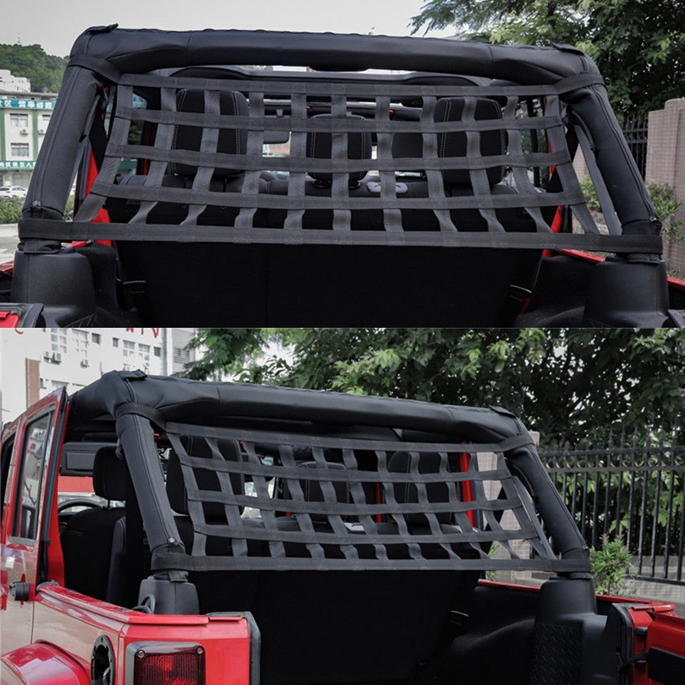 Exterior Accessories Heavy Duty Soft Exterior Sunshade Network Cargo Storage Roof Net Rest Bed Car Hammock Top Cover For Jeep Jk 07-18 Car Covers