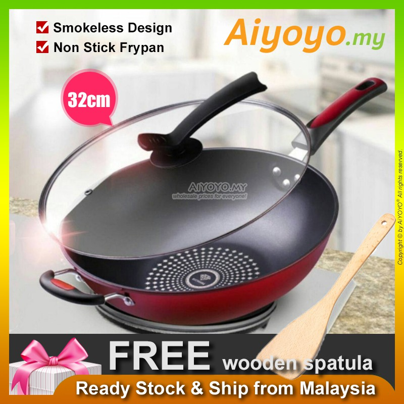 Korean 32cm Non Stick Frying Pan Wok Pot Pan Frypan Cooking Nonstick Kitchen Cooker Gas Electromagnetic Stove WITH LID C