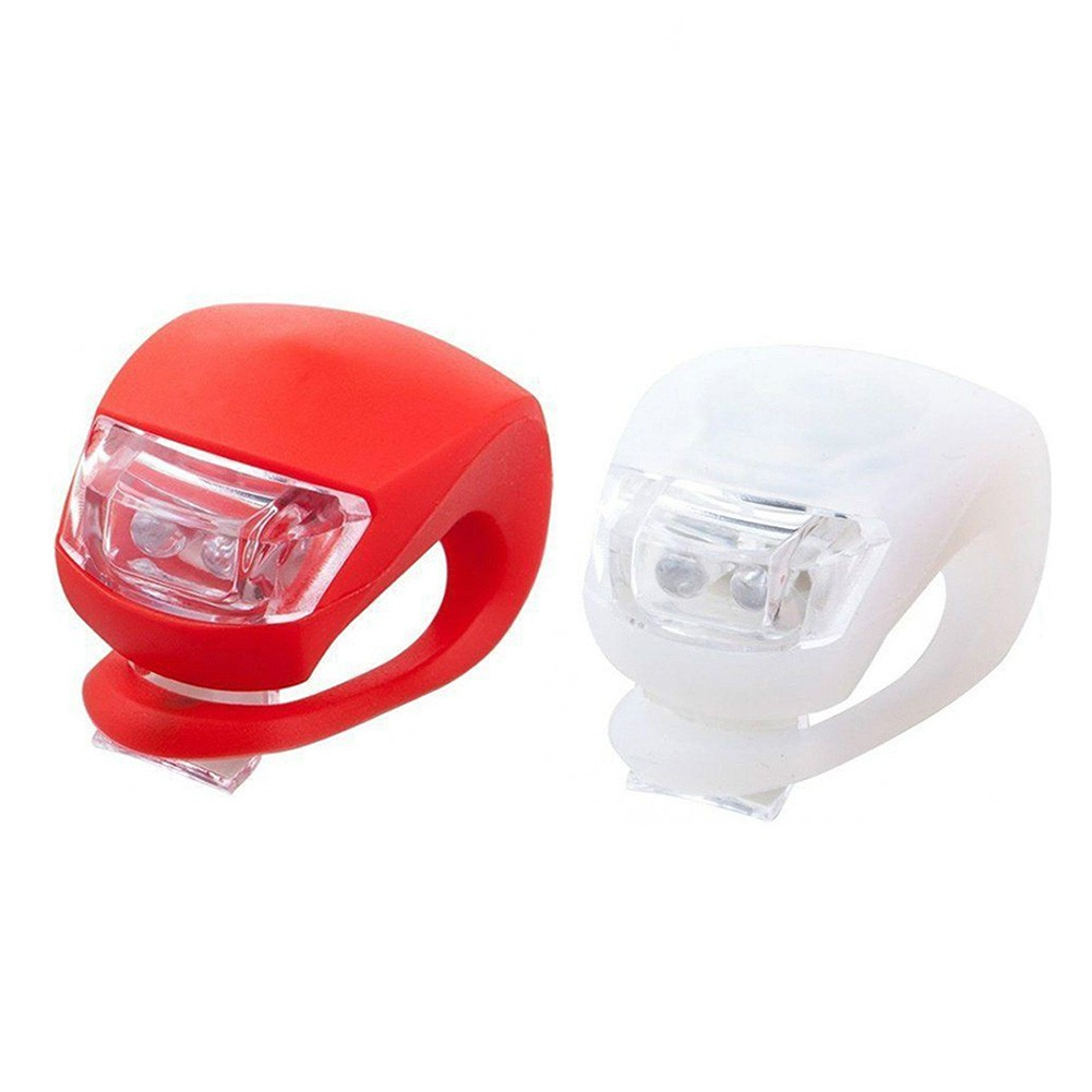 White 2pcs LED Bike Bicycle Front Rear Lights Set Push Cycle Light Clip